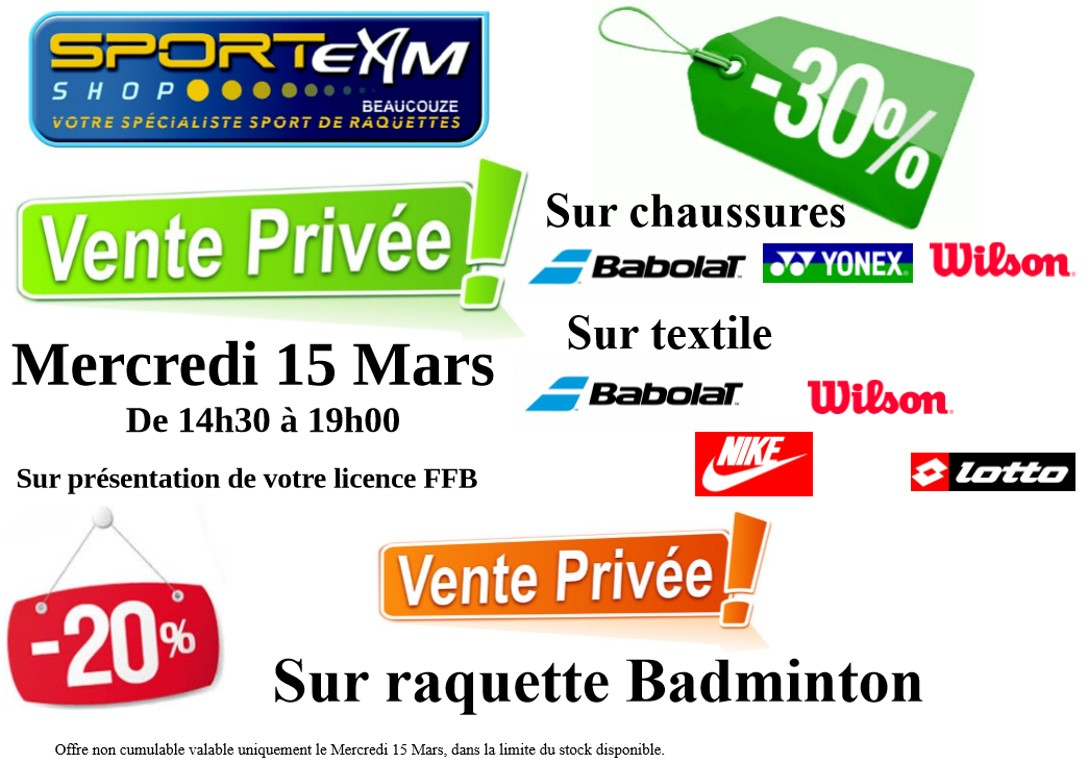 B con badminton 2017 mars 7 - Vente privee retour article ...